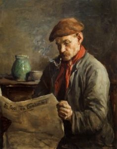 Painting of a man reading the paper