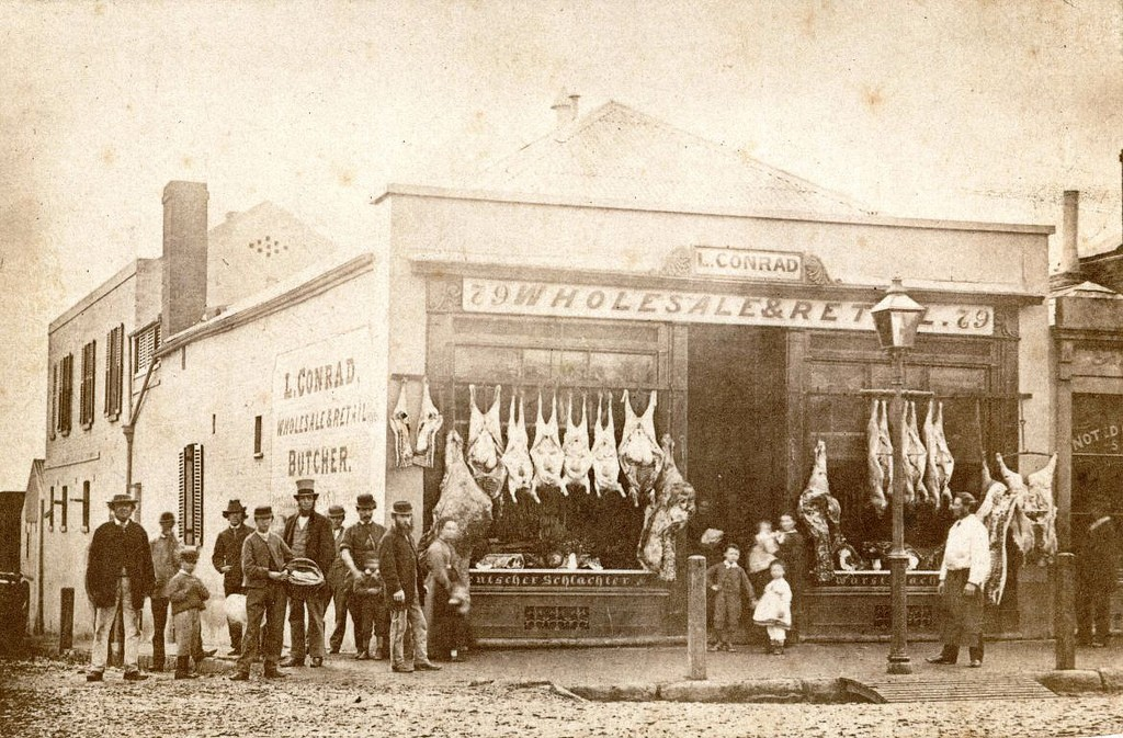 A picture of a Victorian butchers as an invitation to 'take a butchers' at our SEO blog writing services.