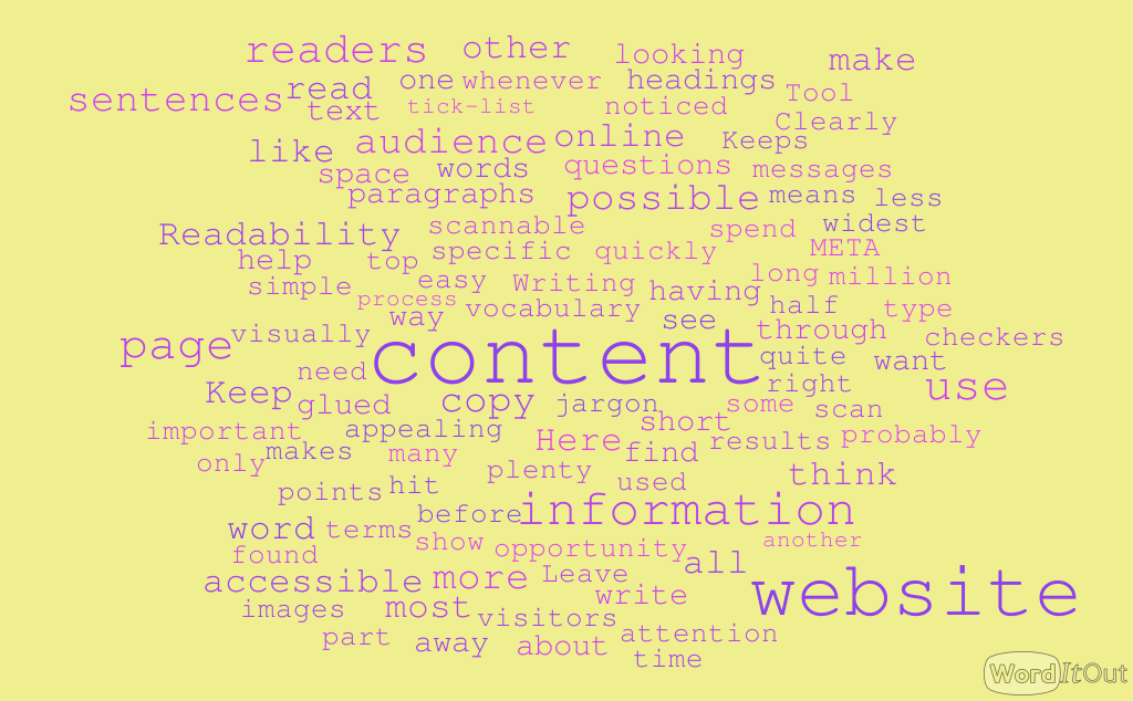 A word cloud can help you identify which words may appear too many times in your website content