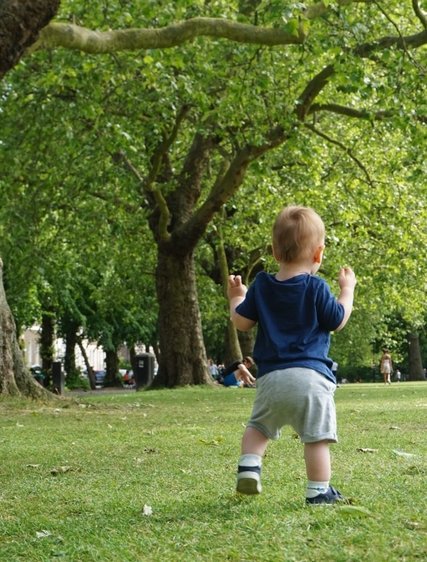 A young boy walking in the park. Lockdown hasn't been a walk in the park but we have taken on some new copywriting clients!